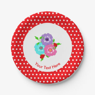 Pretty Flowers & Ladybugs Cute Whimsy Personalized Paper Plate