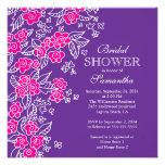 Pretty Flowers Modern Pink & Purple Bridal Shower Invitations