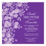 Pretty Flowers Modern Purple & white Bridal Shower Personalized Invitations