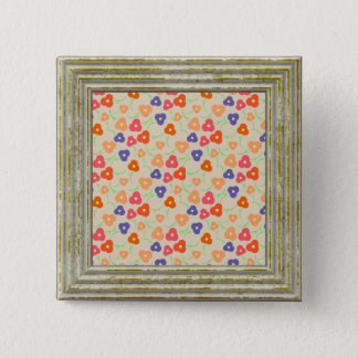 Pretty Flowers Pattern 2 Inch Square Button