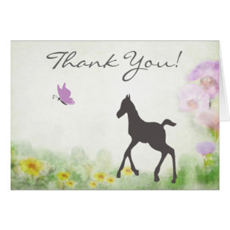 Pretty Foal and Butterfly Horse Thank You Cards