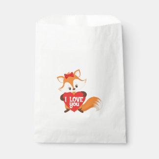 Pretty Fox I love You Heart Favour Bag