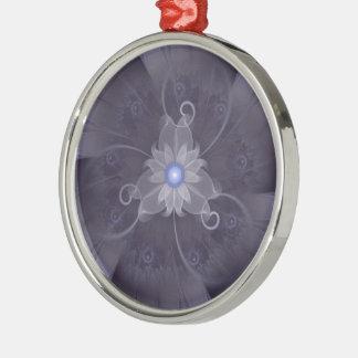 Pretty Fractal Triskelion Purple Passion Flower Metal Ornament