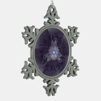 Pretty Fractal Triskelion Purple Passion Flower Snowflake Pewter Christmas Ornament