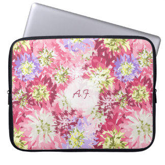 Pretty fresh garden flowers in pink and mauve laptop sleeve