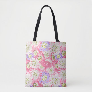 Pretty fresh pink and mauve flowers with monogram tote bag