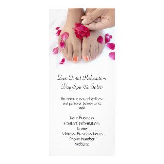 Pretty Fuchsia Pink Rose Pedicure Salon Personalized Rack Card