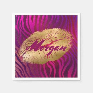 Pretty Fuchsia Tiger Stripes Gold Lipstick Print Disposable Napkin