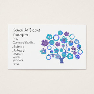 pretty funky blossoms tree of life Japanese style Business Card