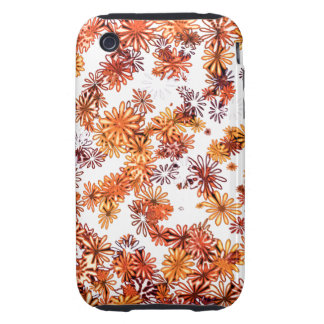 pretty funky orange spring daisy flowers pattern tough iPhone 3 case