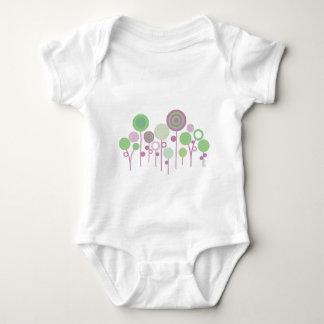 pretty funky retro circles springtime zen garden baby bodysuit