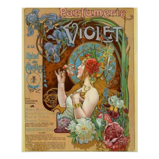 Pretty Girl and Violet Perfume Ad Poster
