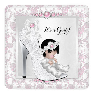 "Pretty Girl Baby Shower Pink White Baby in Shoe 2 5.25"" Square Invitation Card"