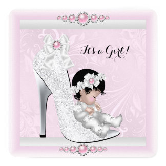 "Pretty Girl Baby Shower Pink White Baby in Shoe 5.25"" Square Invitation Card"