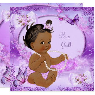 Pretty Girl Baby Shower Purple Butterfly Ethnic Card