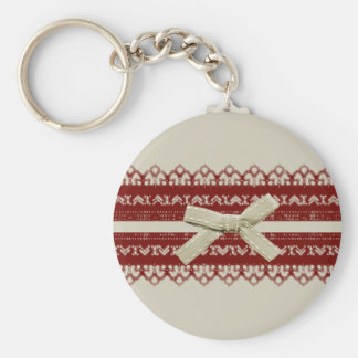 pretty Girl Kawaii Red Lace Beige Bow Keychain