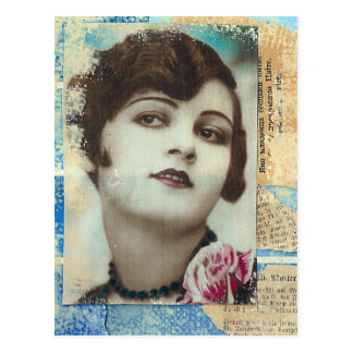 Pretty Girl Paint Chip Collage Postcard