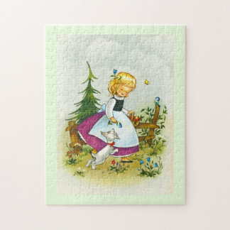 Pretty girl with a dog jigsaw puzzle