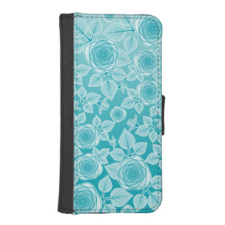 Pretty Girly Aqua Roses Garden of Flowers Phone Wallets