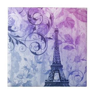 pretty girly chic purple french paris eiffel tower tile