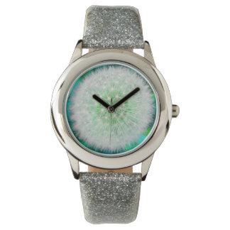 Pretty Girly Dandelion-Clock, blue Wristwatches