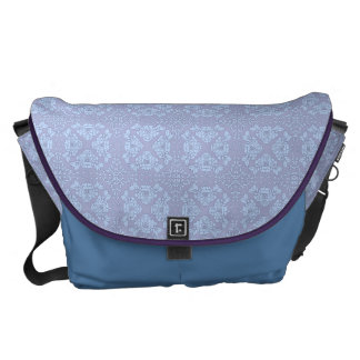 Pretty, Girly, Floral Pattern - Light Blue, Purple Courier Bags