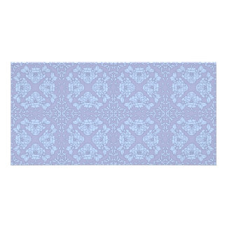 Pretty, Girly, Floral Pattern - Light Blue, Purple Customized Photo Card