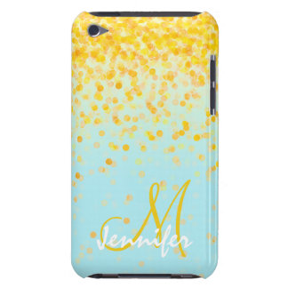 Pretty girly, golden yellow, confetti turquoise om iPod touch case