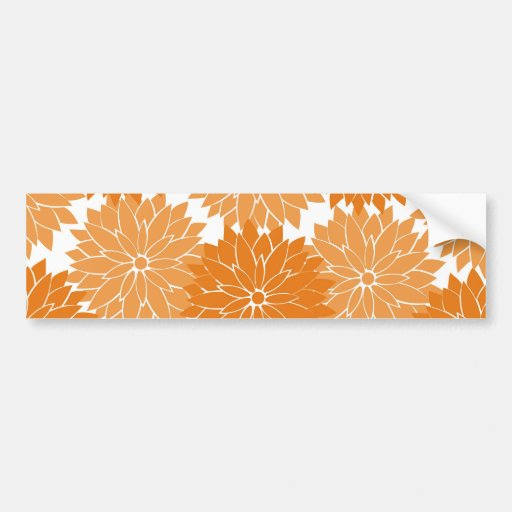 Pretty Girly Orange Flower Blossoms Floral Print Bumper Stickers