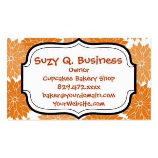 Pretty Girly Orange Flower Blossoms Floral Print Double-Sided Standard Business Cards (Pack Of 100)