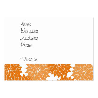 Pretty Girly Orange Flower Blossoms Floral Print Large Business Cards (Pack Of 100)