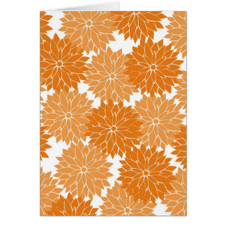 Pretty Girly Orange Flower Blossoms Floral Print Greeting Card