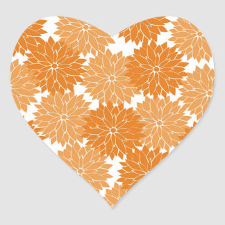 Pretty Girly Orange Flower Blossoms Floral Print Heart Sticker