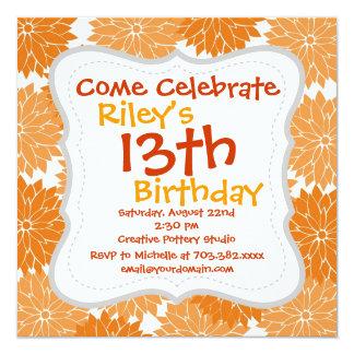 Pretty Girly Orange Flower Blossoms Floral Print 5.25x5.25 Square Paper Invitation Card