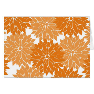Pretty Girly Orange Flower Blossoms Floral Print Note Card