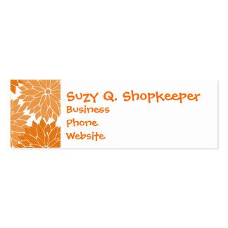 Pretty Girly Orange Flower Blossoms Floral Print Pack Of Skinny Business Cards