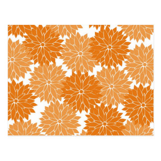 Pretty Girly Orange Flower Blossoms Floral Print Postcard