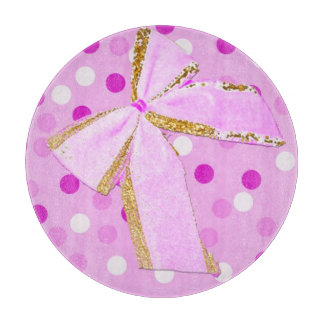Pretty Girly Pink Bow On Polka Dots Boards