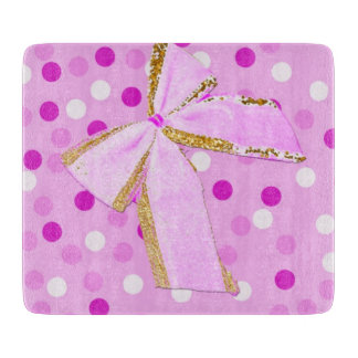 Pretty Girly Pink Bow On Polka Dots Cutting Board