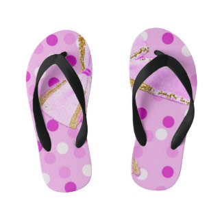 Pretty Girly Pink Bow On Polka Dots Kid's Flip Flops