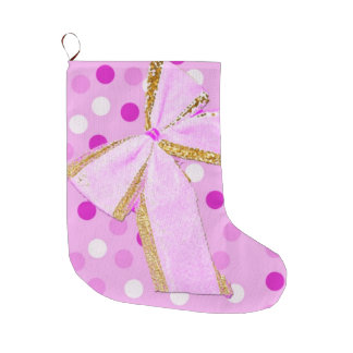 Pretty Girly Pink Bow On Polka Dots Large Christmas Stocking