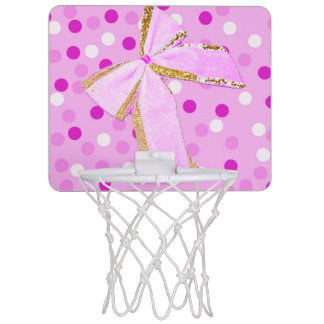 Pretty Girly Pink Bow On Polka Dots Mini Basketball Hoop