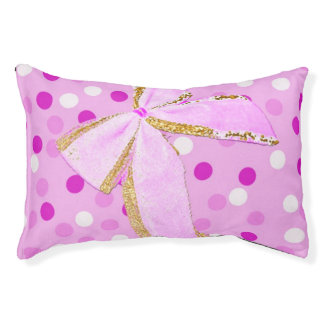 Pretty Girly Pink Bow On Polka Dots Pet Bed