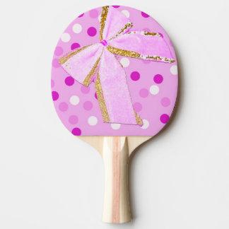 Pretty Girly Pink Bow On Polka Dots Ping Pong Paddle