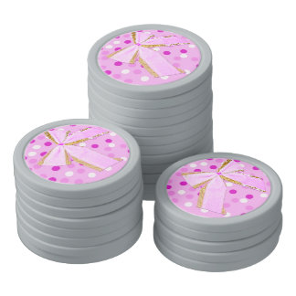 Pretty Girly Pink Bow On Polka Dots Poker Chip Set