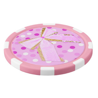 Pretty Girly Pink Bow On Polka Dots Poker Chips