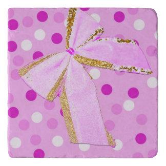 Pretty Girly Pink Bow On Polka Dots Trivet