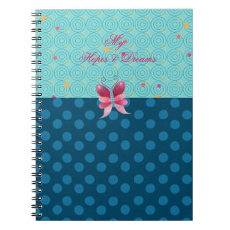 Pretty Girly Pink Butterfly Blue Dots Hopes Dreams Spiral Note Book