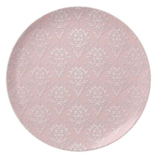 Pretty Girly Pink Damask Pattern Plate