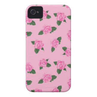 Pretty girly pink roses flowers pink background iPhone 4 Case-Mate case